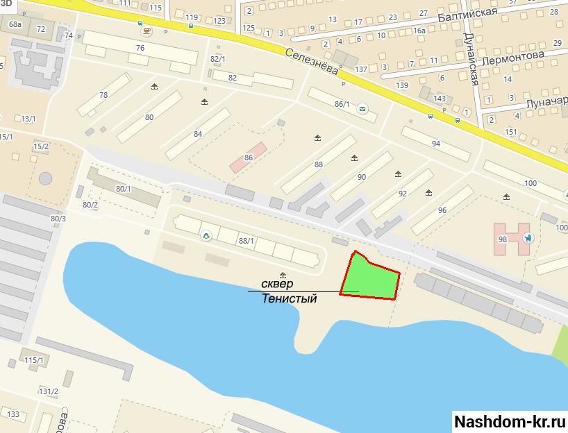 сквер «тенистый» на карте краснодара